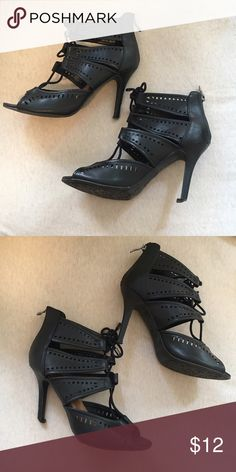 Black lace up heels These are worn, the bottom of the heel needs replacing but that costs about $10 but they're very comfortable for long periods of time and look great with almost anything ! Shoes Heels