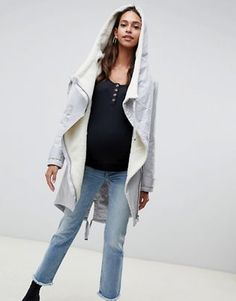 3765c7e08bd ASOS DESIGN Maternity waterfall parka with borg liner
