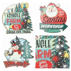 Vintage Christmas Signs | Christmas Wall Decor | Vintage Christmas Wall Art