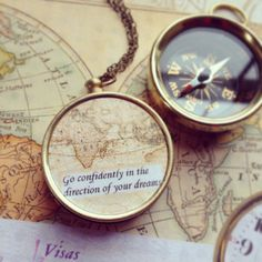 Map compass Necklace, graduation gift, Go Confidently in the Direction of Your Dreams quote, farewell gift on Etsy, $26.50