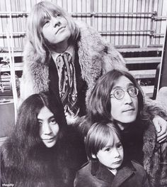 John Lennon,Brian Jones, Yoko and Julian backstage at the Rolling Stones' Rock and Roll Circus, 11 December 1968