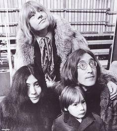 John Lennon,Brian Jones, Yoko and Julian backstage atthe Rolling Stones' Rock and Roll Circus, 11 December 1968