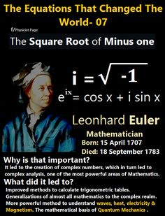 The Square Root of Minus One Mathematically, the complex numbers are supremely elegant. Algebra works perfectly the way we want it to - any equation has a complex number solution, a situation that is not true for the real numbers : x^2 + 4 = 0 has no real number solution, but it does have a complex solution: the square root of -4, or 2i.
