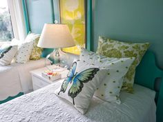 HGTV Dream Home 2013: Twin Suite Bedroom ~ Although designed as a little girls' bedroom, the space could be transformed into a gender-neutral guest bedroom by changing throw pillows and decorative accents.