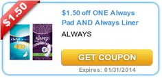 Put your coupons savings into your vacation money jar! $1.50 off ONE Always Pad AND Always Liner