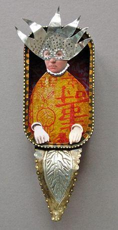 Sun god in a sardine can? Found Object Art, Found Art, Mixed Media Sculpture, Sculpture Art, Kirigami, Altered Art, Altered Tins, Matchbox Art, Tin Art
