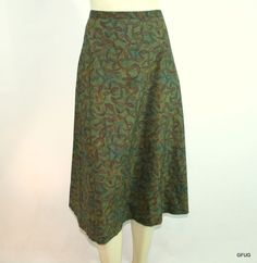PERUVIAN CONNECTION Sz 12 Green Pima Cotton Petal Floral Print A-Line Skirt #PeruvianConnection #ALine