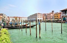 Gondolas moored at the edge of Venice's Grand Canal awaiting their next passengers