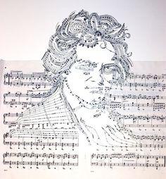 Artista americana constrói retratos de personalidades com partituras musicais