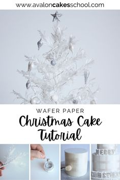 This white Christmas cake features a wafer paper Christmas tree, white fondant ornaments, and white gumpaste ornaments coated in edible silver glitter and luster dust. This is a free cake decorating tutorial just in time for the Christmas season. Avalon Cakes School, for intermediate and professional cake and cookie decorators, with hundreds of cake tutorials, cookie tutorials, and cake decorating masterclasses.