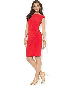 Lauren Ralph Lauren Cap-Sleeve Hardware Faux-Wrap Dress - Dresses - Women - Macy's