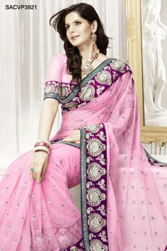 $234Vivacious Pink Net Saree From Cbazaar