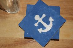 Nautical CoastersSet of 4Anchor by loveofcoasterdesigns on Etsy
