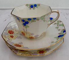 Art Deco Royal Doulton bone china tea set trio by Mercysemporium