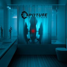 Portal 2 Aperture Laboratories Shower Curtain. Most likely not radioactive (I think).