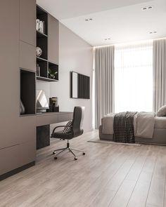 Park Bayıl Residence on Behance Home Office Design, House Design, Bed Back Design, Marvel Room, Bedroom Cabinets, Apartment Interior, Modern Bedroom, Interaction Design, Architecture Design