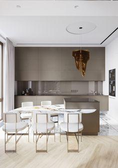 New kitchen marble glass Ideas Kitchen Room Design, Modern Kitchen Design, Dining Room Design, Interior Design Kitchen, Kitchen Decor, Gold Interior, Design Industrial, Restaurant Interior Design, Cuisines Design