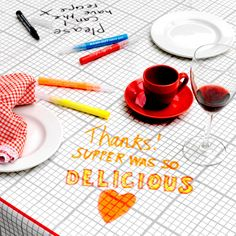 Doodle Tablecloth >>> Could be fun to cover a camping table!