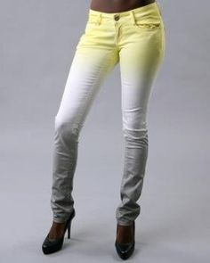 Dip-dyed jeans inspiration in lemon yellow and dark grey. Great Rit dye project.