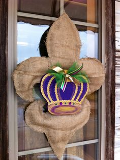 Will SEW make this!!! Burlap Mardi Gras door decoration