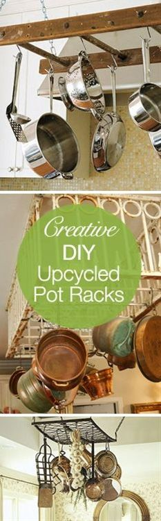 We love going green and a great way to go about this is UPCYCLING or RE-PURPOSING... join the movement with these Creative DIY Upcycled Pot Rack Idea!