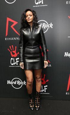 Rihanna wearing Alaia Cutout Boots.