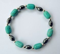 Turquoise and Silver Beaded Bracelet by UniqueDesignsByKait, $12.00