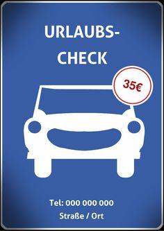 Mit diesem Flyer / Handzettel bewerben Sie Ihre Auto-Werkstatt-Angebote, wie zum Beispiel einen Urlaubs-Check, Komplett-Check oder Öl-Wechsel. Sie können die Texte und Bilder kinderleicht anpassen. Worauf warten Sie noch?