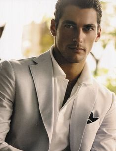 David Gandy in a creme tailored suit