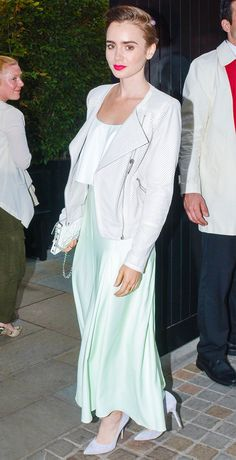 Lily Collins looks pretty in pastel.