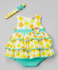 Look at this Aqua & Orange Floral Ruffle Dress Set - Infant on #zulily today!