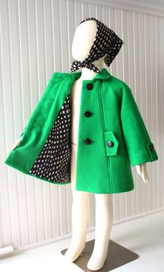 Girls Car Coat in Kelly Green. Simply adorable!