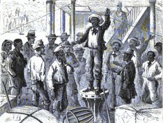 Leader of Mississippi steamboat hands singing a song from atop a capstan. During the first half of the 19th century, some of the songs African-Americans sang also began to appear in use for shipboard tasks, i.e. as shanties.