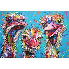 Struisvogel mania - Vrolijk Schilderij