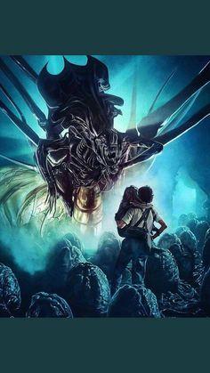Art by Chelsea Lowe - ChelseaLowe - aliens - James Cameron - Ripley - Newt - AlienQueen Alien Vs Predator, Predator Alien, James Cameron, Alien Movie Poster, Aliens Movie, Alien Films, Art Alien, Aliens 1986, Alien Queen