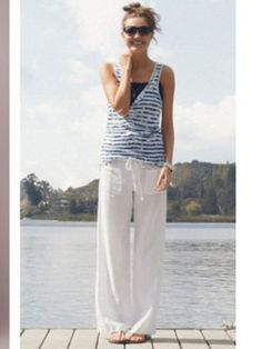 Dear Stitch Fix Stylist- I like the cool comfy look of these White linen trousers.