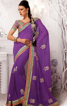 Picture of Stylish Blusih Purple Color Georgette Party Wear Saree Online