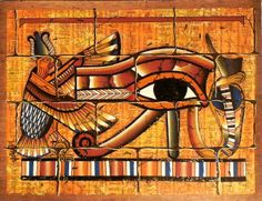 "Ancient Egyptian Art on Dark Egyptian Papyrus. Unique Handmade Art For Sale at arkangallery.com | Title: ""Eye of Ra Mural"" 