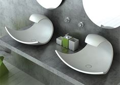 Bathroom Sink Design, Modern Bathroom Design, Unique Bathroom Sinks, Bathroom Ideas, Concrete Bathroom, Bathroom Stuff, Bathroom Closet, Bathroom Art, Beautiful Bathrooms