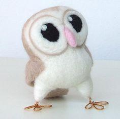 Needlefelted Barn Owl in Soft Beige Hoot Felt by feltmeupdesigns