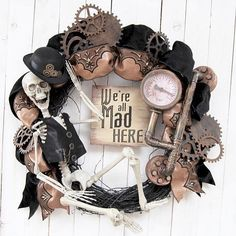 "40 Likes, 5 Comments - Paula Atwell (@lakeerieartists) on Instagram: ""Steampunk Halloween wreaths add a spooky, festive flair to any door, wall, or mantel, bringing a…"""