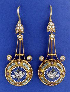Micromosaic | Dove Micromosaic Earrings - Art & Antiques Online - CINOA