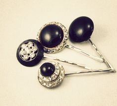 Art Deco vintage jewelry bobby pins hair accessories . by adorelic