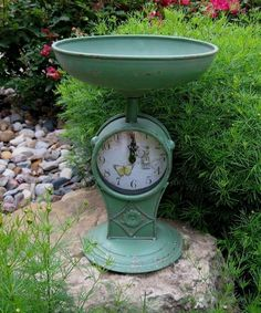 Scale/Fruit/Vegetable Bowl CLOCK*GREEN*Primitive/French Country Kitchen Decor #NaivePrimitive