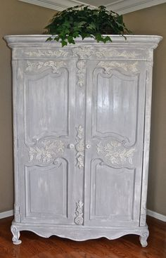 Vintage French Provincial Louis XV Style Shabby Chic Old White and Paris Grey Carved Armoire or Entertainment Center