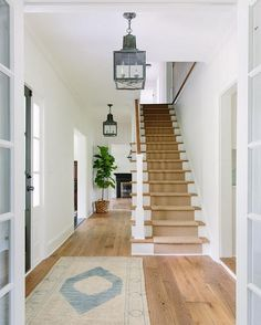 Benjamin Moore OC-17 White Dove . Farmhouse foyer  Benjamin Moore OC-17 White Dove #BenjaminMoore #OC17 #WhiteDove farmhouse-foyer Kate Marker Interiors.