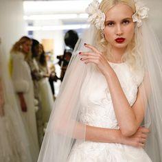 The angelic AMELIA dress and new floral veil #fall2017 #backstage #naeemkhanbridal #bridalveil #bridalbeauty #bridalmakeup #bridalfashionweek #embroidery #wedding #love #romance #bride