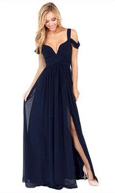 Elegant Long Chiffon V-Neck Party / Maxi Dress