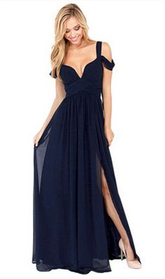 Elegant Long Chiffon V-Neck Party / Maxi Dress