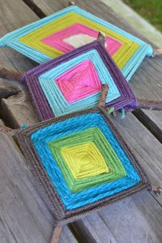 Make these God's Eyes with sticks and yarn. Simple craft with the kids for the summer or all year round.